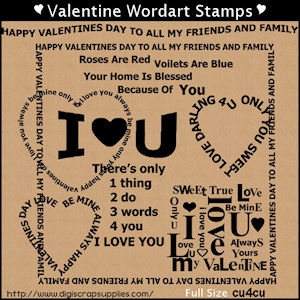 Valentine stamps wordart