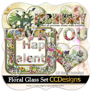 Glass foral set cu