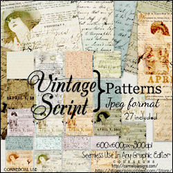 Vintage script jpeg patterns