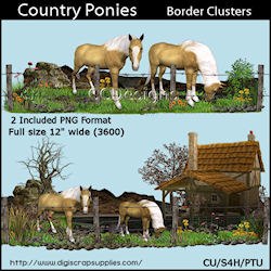 Country ponies border clusters