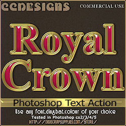 Royal crown photoshop text action