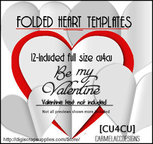 Folded Heart Templates CU4CU