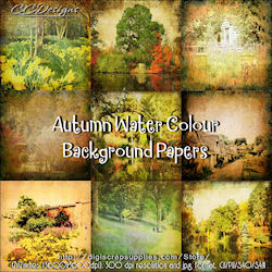 Autumn water colours bgds 99 cents