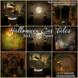 Halloween cattales backgrounds
