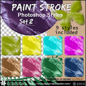 Paint strokes patterns styles set 2